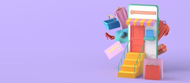 Concepto de tienda online con smartphone. copie el espacio. ilustración 3d.