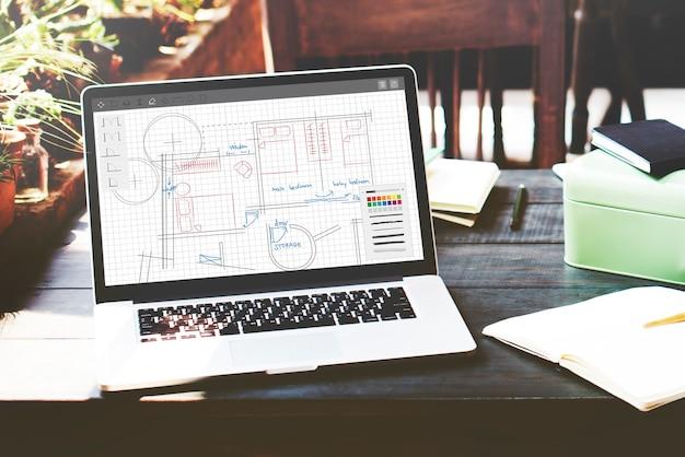 Concepto de trabajo de diseño de planos de arquitectura