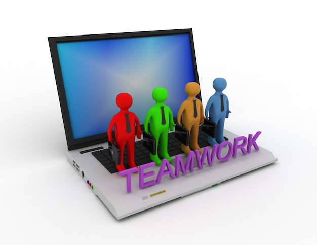 Concepto de trabajo en equipo, aislado en blanco 3d rindió la ilustración.