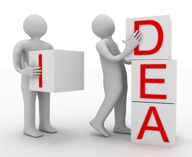 Concepto de trabajo en equipo. ilustración 3d sobre fondo blanco.