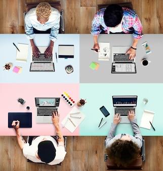 Concepto de trabajo ocupado de la oficina del ordenador portátil de los colegas