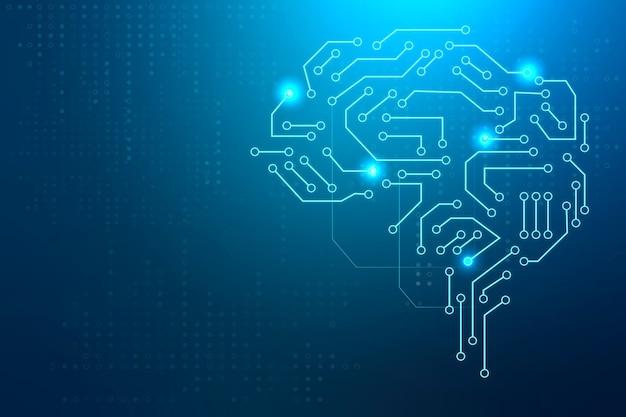 Concepto de transformación digital de fondo de cerebro de tecnología ai Foto gratis