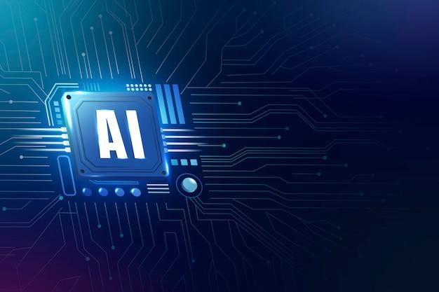 Concepto de transformación digital de fondo de microchip de tecnología ai