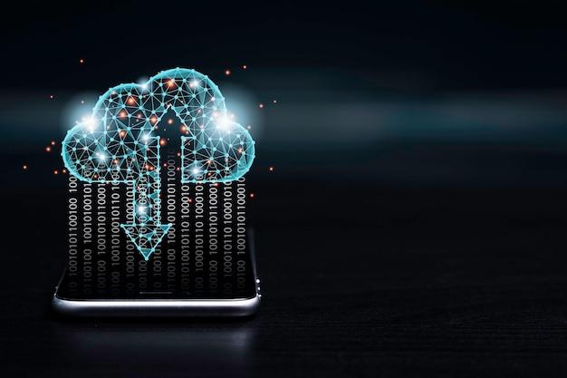 Concepto de transformación de tecnología de computación en la nube, computación en la nube virtual para transferir, cargar y descargar datos de información con un teléfono inteligente.