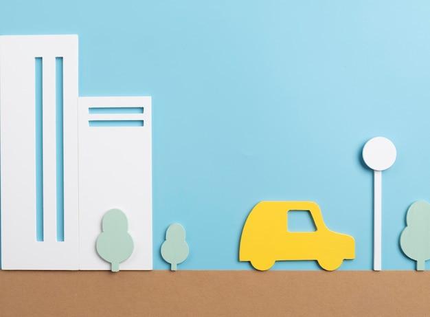 Concepto de transporte con coche amarillo.