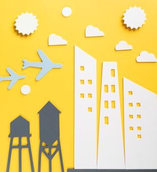 Concepto de transporte urbano con aviones.