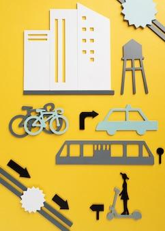 Concepto de transporte urbano con elementos.