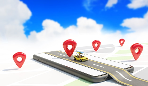 Concepto de ubicación del mapa con el coche en la carretera en un smartphone