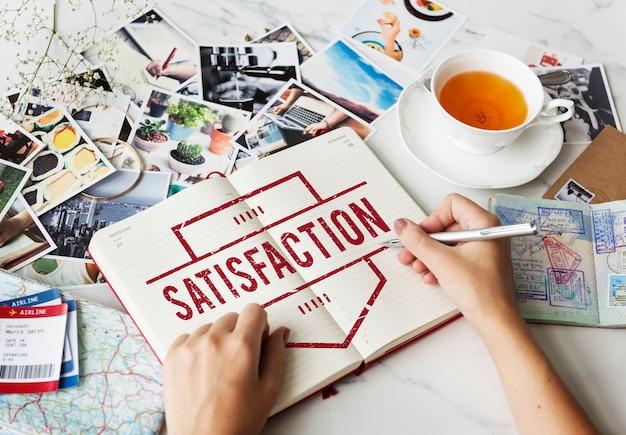 Concepto de usuario de cliente de servicio feliz de satisfacción