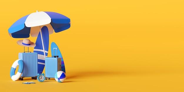 Concepto de vacaciones de verano, sombrilla de playa y accesorios de viaje sobre fondo amarillo, ilustración 3d