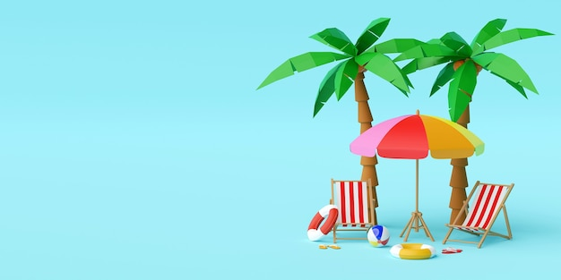 Concepto de vacaciones de verano, sombrilla de playa, sillas y accesorios bajo palmera sobre fondo azul, ilustración 3d