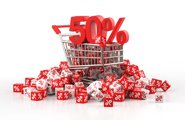 Concepto de venta de 50 por ciento de descuento con carro y un montón de cubo rojo y blanco con porcentaje en ilustración 3d