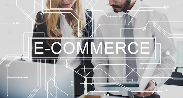 Concepto de venta de compras en línea de comercio electrónico