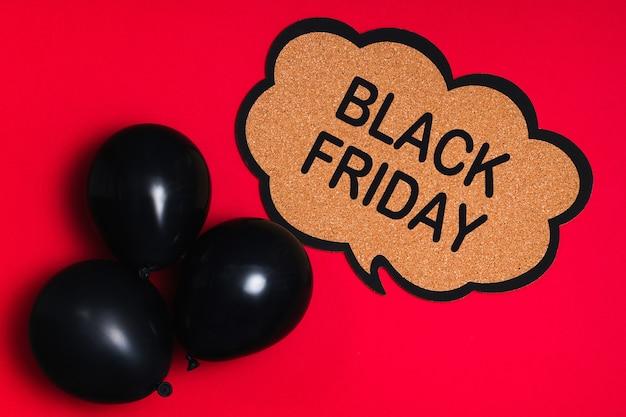 Concepto de venta de compras de viernes negro con globos