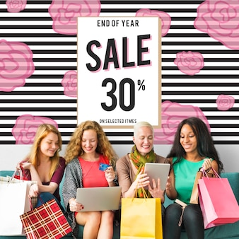 Concepto de venta de conexión de consumismo de compras en línea