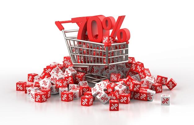 Concepto de venta de descuento del 70 por ciento con carro y un montón de cubo rojo y blanco con porcentaje en ilustración 3d