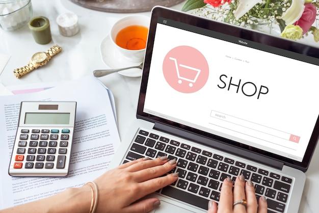 Concepto de venta de página de inicio en línea de tienda de comercio electrónico