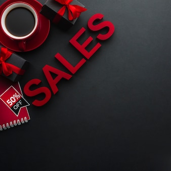 Concepto de ventas con café y espacio de copia