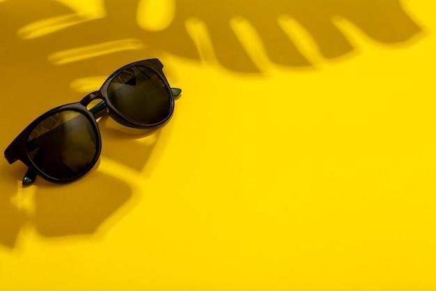 Concepto de verano y vacaciones. gafas de sol a la sombra de verdades tropicales y plantas sobre un fondo de verano limpio y brillante