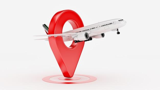 Concepto de viaje de aerolínea aeropuerto puntero avión y pin aislado en blanco renderizado 3d