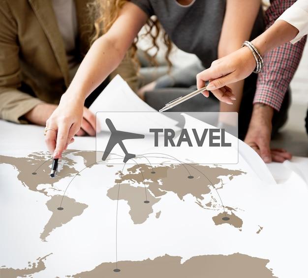 Concepto de viaje de destino de reserva de billete de vuelo