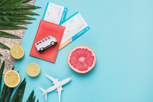 Concepto de viaje con frutas.