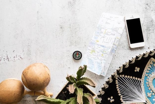 Concepto de viajes y música latina.