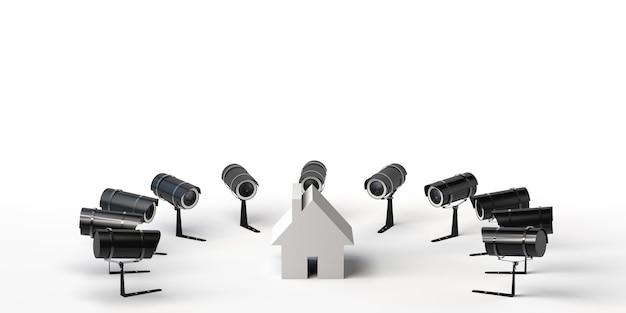 Concepto de videovigilancia en el hogar cámaras que rodean una casa ilustración 3d espacio de copia