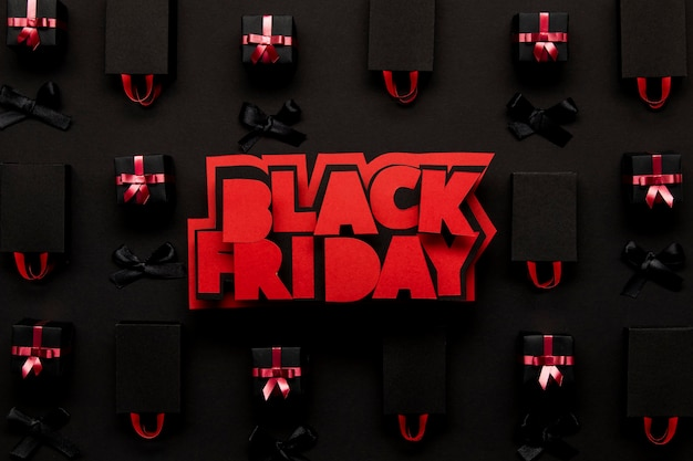 Concepto de viernes negro de cajas de regalo