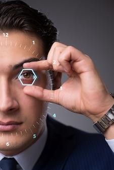 Concepto de visión futurista con empresario