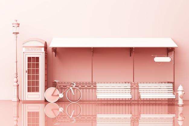 Concepto de vista lateral de la calle de londres con banco de cabina telefónica, bicicleta y café 3d rendering