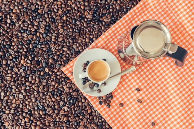 Concepto de vista superior de café con espresso
