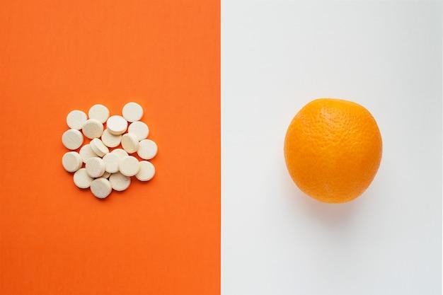 Concepto de vitamina c en estilo minimalista.