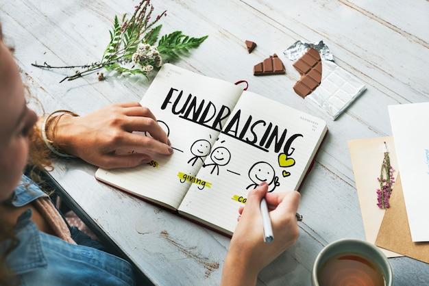 Concepto de voluntariado sin fines de lucro de recaudación de fondos de donaciones de caridad