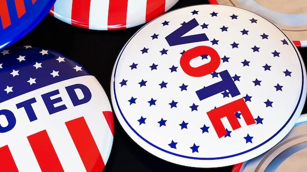 Concepto de voto de elecciones estadounidenses con bandera