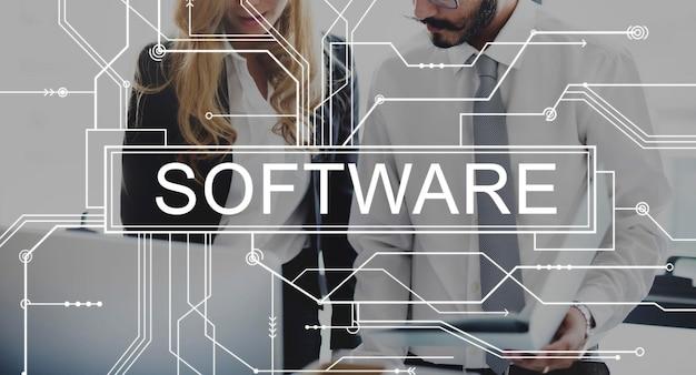 Concepto web del programa de internet de electrónica digital de software