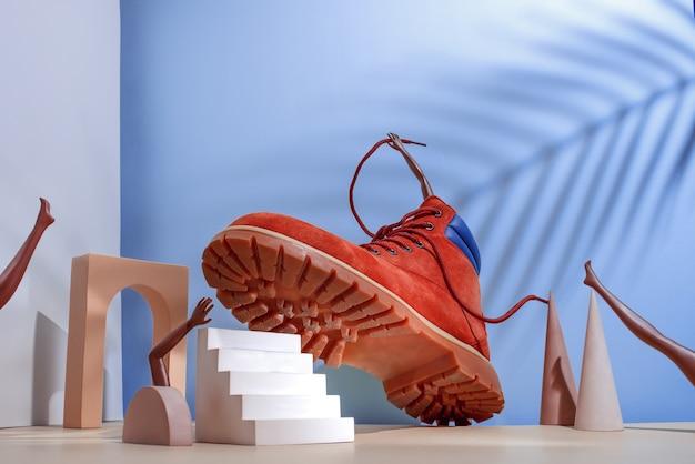 Concepto de zapato botas rojas en las escaleras