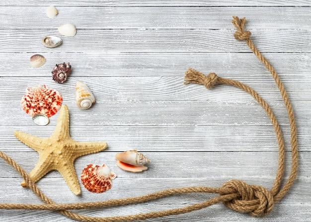 Conchas, estrellas de mar y cuerda sobre una mesa de madera clara