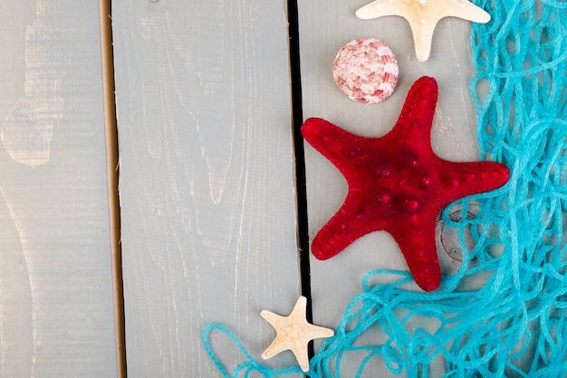 Conchas marinas con red azul sobre fondo de madera gris. lay flat