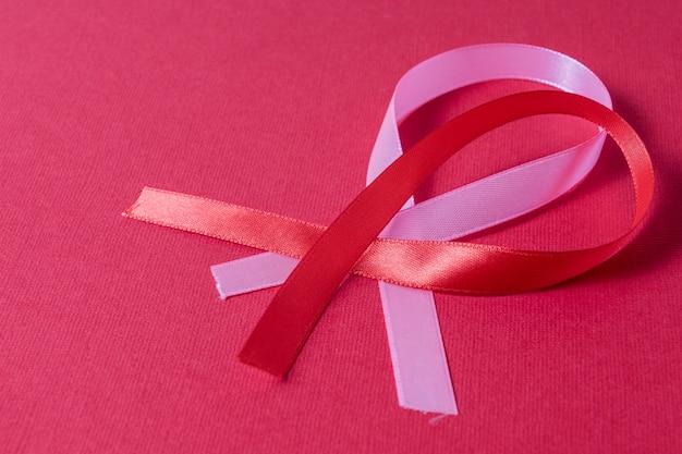 Conciencia del cáncer de mama cinta roja y rosa sobre fondo rojo