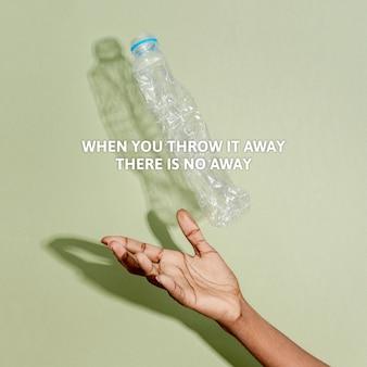 Conciencia de la contaminación plástica con cuando lo tira a la basura no hay texto ausente