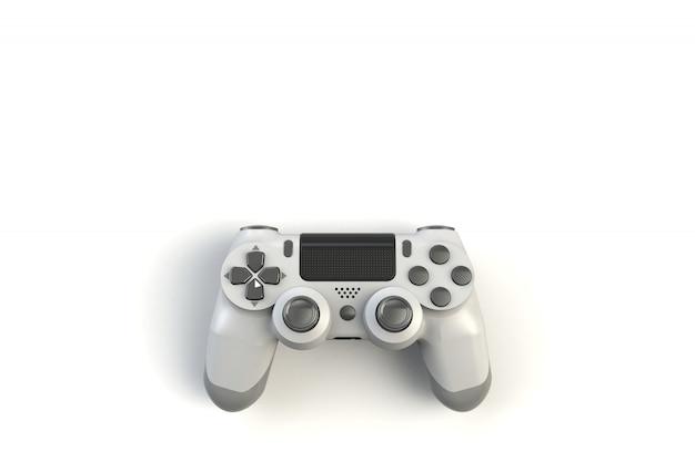 Concurso de juegos de ordenador. concepto de juego palanca de mando blanca aislada en el fondo blanco, representación 3d