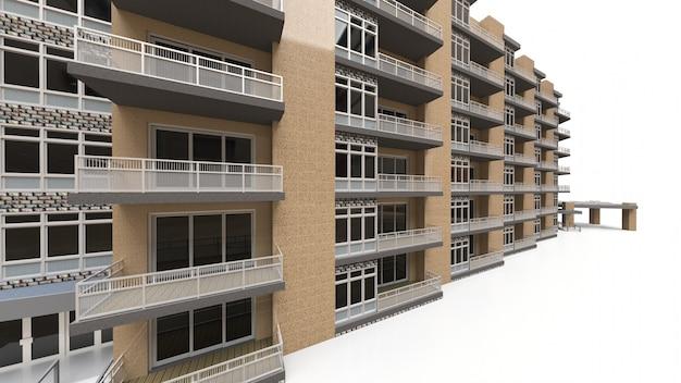 Condominio modelo 3d. edificio de apartamentos con patio. representación 3d