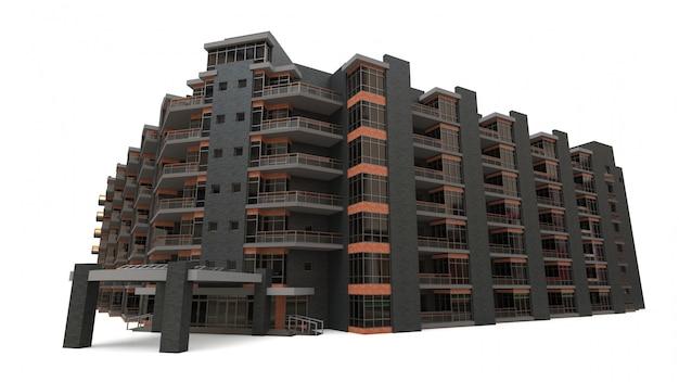 Condominio modelo 3d. edificio de apartamentos con patio