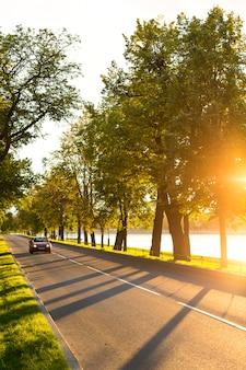 Conducción de automóviles modernos o viajando por la carretera asfaltada en el parque al hermoso atardecer, la luz de la calle y el río en el fondo