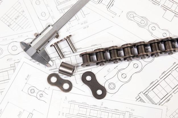 Conducción de cadena de rodillos y pinzas en dibujos de ingeniería