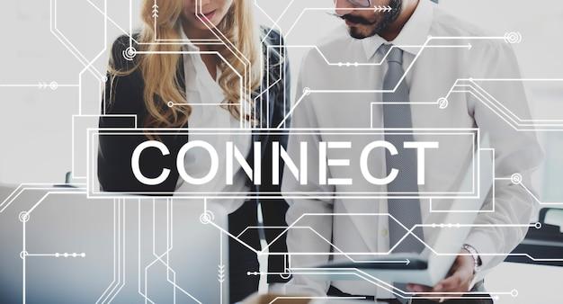 Conectar el concepto de unión de redes sociales asociadas