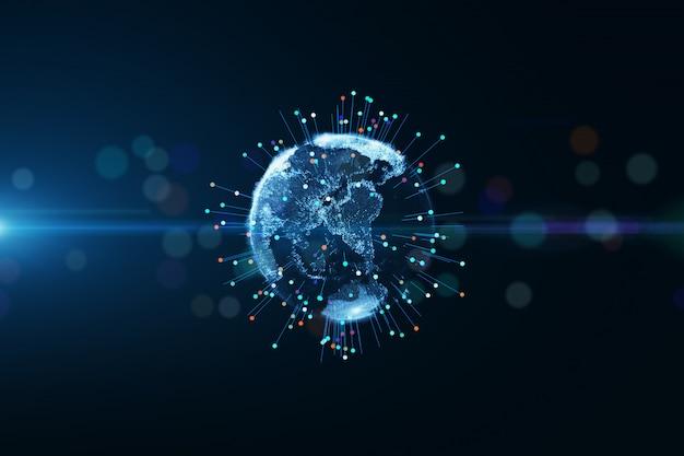 Conectividad de transporte de partículas del planeta tierra globo. representación 3d abstracta, tecnología concepto de red de datos grandes.