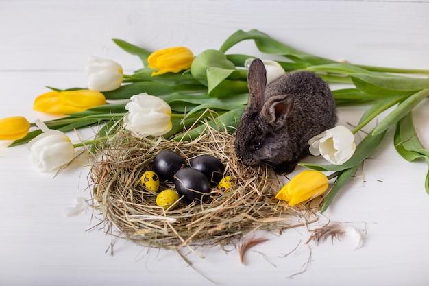 Conejito de pascua con huevos de pascua con tulipanes y un nido de heno. composición positiva de primavera de pascua.