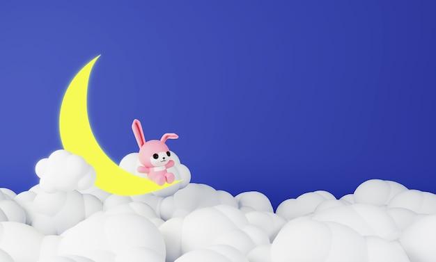 Conejo rosa sentado en la luna